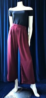 Dress in True Vintage 90's Burgundy, Pleated Front, Wide Leg Pants Trousers 8-10