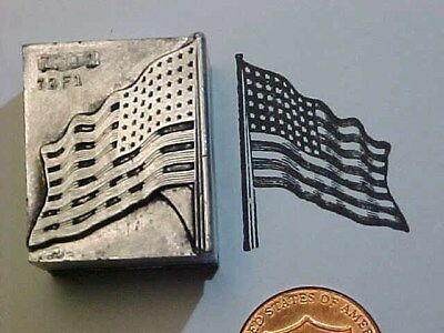 48 Star American FLAG! Old Glory! 1912 to 1959 AMERICA! Letterpress Printers Cut