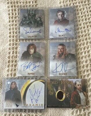 6 Lord Of The Rings Chrome Aurograph Costume Cards Holm Boyd Urban Wenham Baker