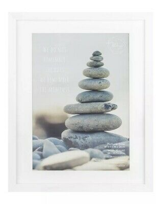 Portico 14x11 White Wood Box Photo Picture Frame Wall Desk Mount Photo Poster