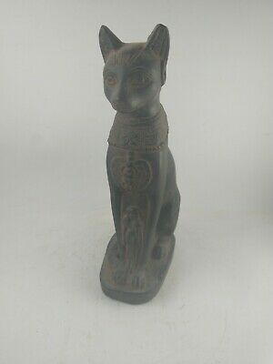 RARE ANTIQUE ANCIENT EGYPTIAN Bast Basset Goddess Cat Bastet Black 1544-1463 Bc