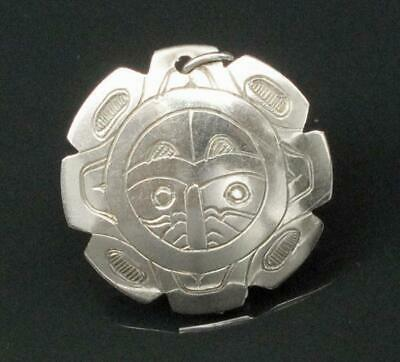 Native American Indian Sterling Silver Thunderbird In Sun Pendant Signed Pw