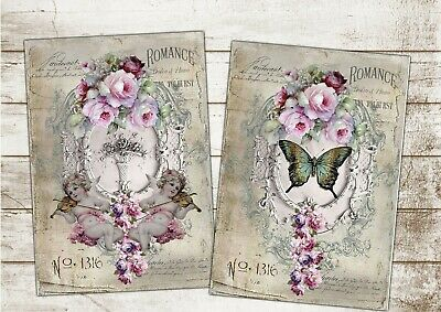 Set of 2 Shabby Chic Vintage Wall Art Prints Roses Butterfly & CherubsA3 Canvas