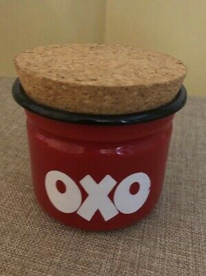 Vintage 1970s Enamelled OXO Storage Tin - With Cork Lid