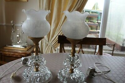 PAIR OF SMALL OIL STYLE  GLASS TABLE LAMP  F.W.O. COMPLETE WITH SHADEs