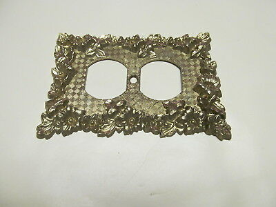 Vintage Regency Decorative Brass Outlet Plate Cover Mid Century Metal