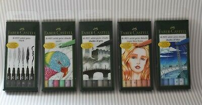 Faber Castell 5 x 6pc PITT ARTIST PEN SETS, BLACK, PASTEL, GREY, SKIN & BLUE
