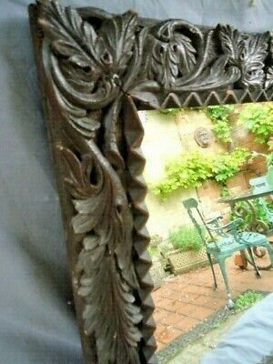 19Th Century Oak Carved Leaves Mirror Frame With Later Glass