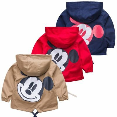 Kids Mickey Jacket Coat For Boys Girls Hooded Windbreaker Outerwear Baby Clothes
