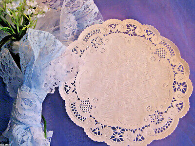 """5"""" inch WHITE PAPER FRENCH WEDDING LACE LACY DOILY 25 PCS USA CRAFT ROUND"""