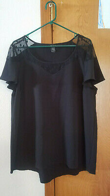 Torrid Plus Size 0 Black Lace Shoulder Flowy Short Sleeve Shirt Top Blouse SeXy
