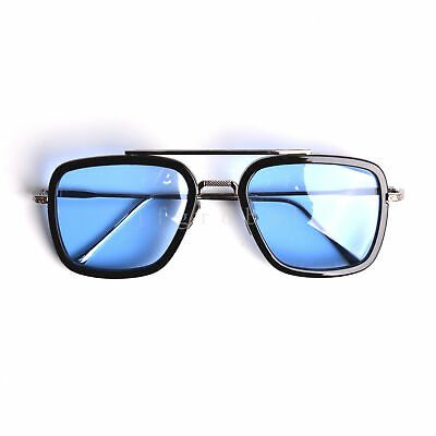 Fashion Avengers Tony Stark Iron Man Sunglasses EDITH Mens Metal Retro Glasses