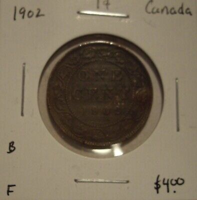 B Canada Edward VII 1902 Large Cent - F