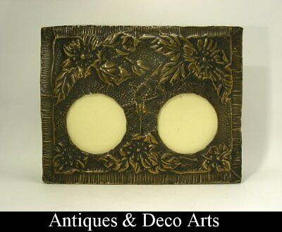 Arts & Crafts Brass & Tin Picture- Photo Frame with Embossed Flower Decoration