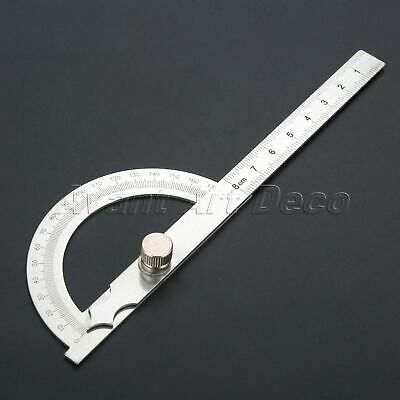 Stainless Steel Protractor Ruler 0-180 Degrees Angle Finder Gauge Measuring Tool