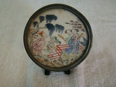 Antique Asian Pewter Mirrored Compact With Hand Painted Scene ~ must see ~