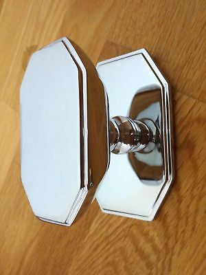 Large Chrome Art Deco Front Door Center Knob Handle Centre Plate Letter Knocker
