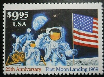 U.S.Stamps: Scott #2842, $9.95, Multi., The Moon Landing Anniversary, 1994, OGHR