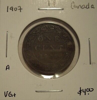 A Canada Edward VII 1907 Large Cent - VG+