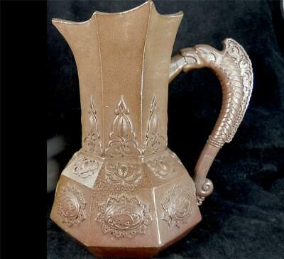 Antique  Large Salt Glaze Relief Moulded Jug Pitcher Mythical Handle