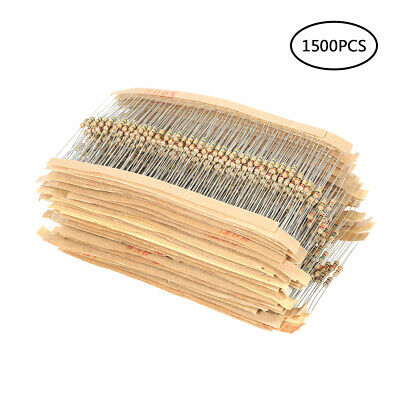 1500Pcs 1/4W 5% Carbon Film Resistor 75 Values Assorted 1 ohm~10M ohm Range Y8I9