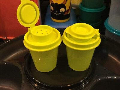 NEW TUPPERWARE 2Oz MINIS MIDGET SALT & PEPPER SHAKERS TRAVEL SIZE for OFFICE