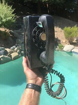 1957 Vintage Western Electric Bell System #554 Rotary Wall Phone Black FREESHIP