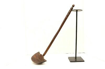 """FINE AFRICAN ZULU LONG HANDLED CARVED WOOD SPOON/ LADLE ATQ primitive 19"""" tool"""