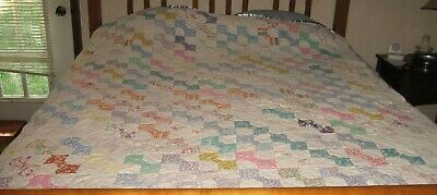 "Vintage Bowtie Quilt-Handpieced/Handmade-Cutter-60""X72""Beautiful Colors"