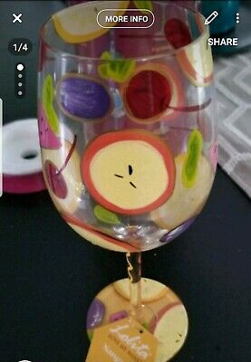 Lolita Love My Wine Hand Painted New in BOX WINE GLASS Sangria