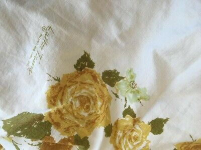 Vintage LINEN Luther Travis Signed Yellow CABBAGE ROSES Tablecloth 70s 60s MCM