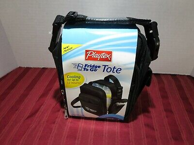 Playtex Fridge To Go Tote Double Bottle Holder Lunch Box Cooling 12 Hours NEW