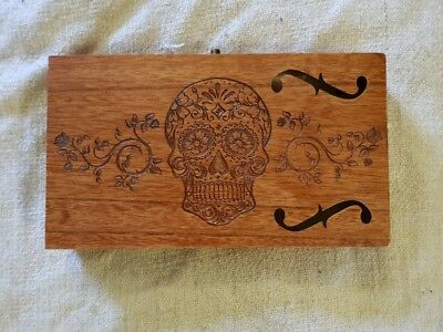 Cigar Box for DIY Project guitar with F hole and Sugar Skull Carving