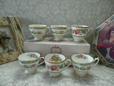 Vintage Mismatched China Tea Cups, Job Lot Set Of 6,  Good Condition