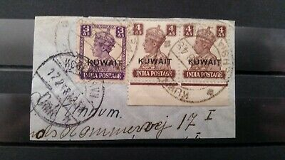 Kuwait  1948   George Vl stamps on piece of cover