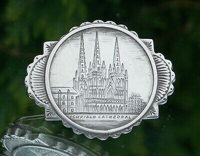 Beautiful Fine Quality Victorian Solid Silver Litchfield Cathedral Ladies Brooch