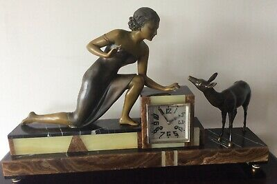 Stunning Uriano French Art Deco Clock C1930 Featuring Lady And Deer