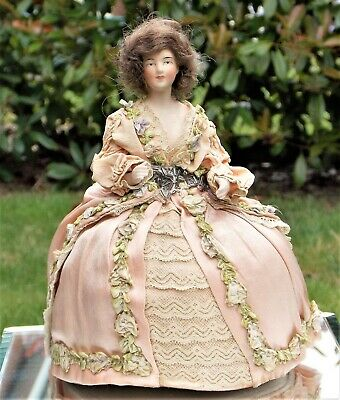 Beautiful Rare Victorian Hand Painted Porcelain Doll Pin Cushion With Real Hair