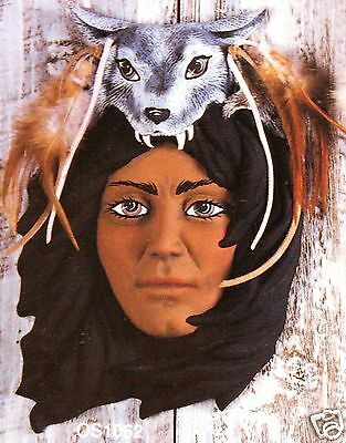 Ceramic Bisque Wolf Headdress Wall Mask Ocean State 1062 U-Paint Ready To Paint