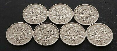 7 x GEORGE V SILVER THREEPENCE COINS-1930, 1931, 1932, 1933, 1934, 1935 & 1936