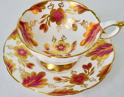 Royal Stafford Raspberry Red Gold Flowers Bone China Cup & Saucer