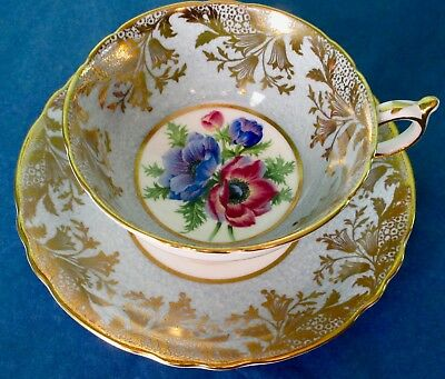 Paragon Fancy Anemones Rich Gold Marble Blue Cup & Saucer A2136