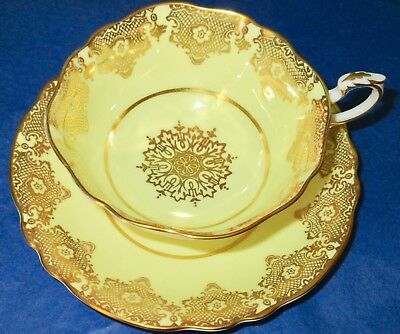 Paragon Fancy Yellow Rich Gold Snowflake Fine Bone China Cup & Saucer