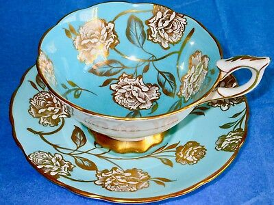 Royal Stafford Stunning Turquoise Gilded Roses Bone China Cup & Saucer