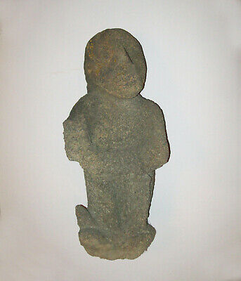 "Large Old Antique Vtg Ca 1800's Folk Art 22"" Tall Carved Stone Human Figure Nice"