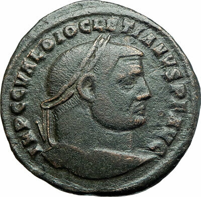 DIOCLETIAN Authentic Ancient 296AD Follis Genuine Roman Coin w GENIUS i79312