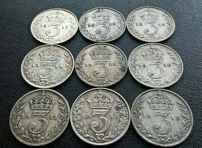 9 x KING GEORGE V SILVER THREEPENCE 3d COINS, DATE RUN 1911-1919