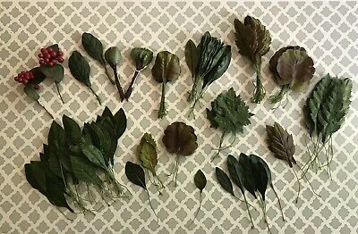 HUGE LOT Vintage Millinery Leaves Stems for Bouquet Hat Hair Corsage Craft 300pc