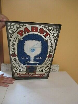 vintage pabst blue ribbon beer mirror adv. sign 12x20 BEECO Chicago