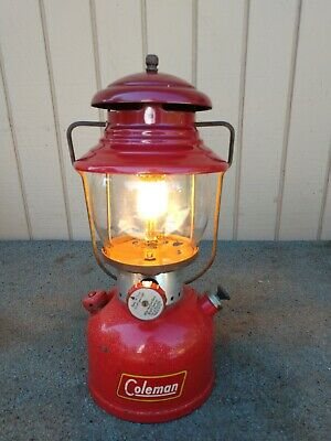 Vintage Red November 1954 Coleman 200A Single Burner White Gas Lantern WORKS